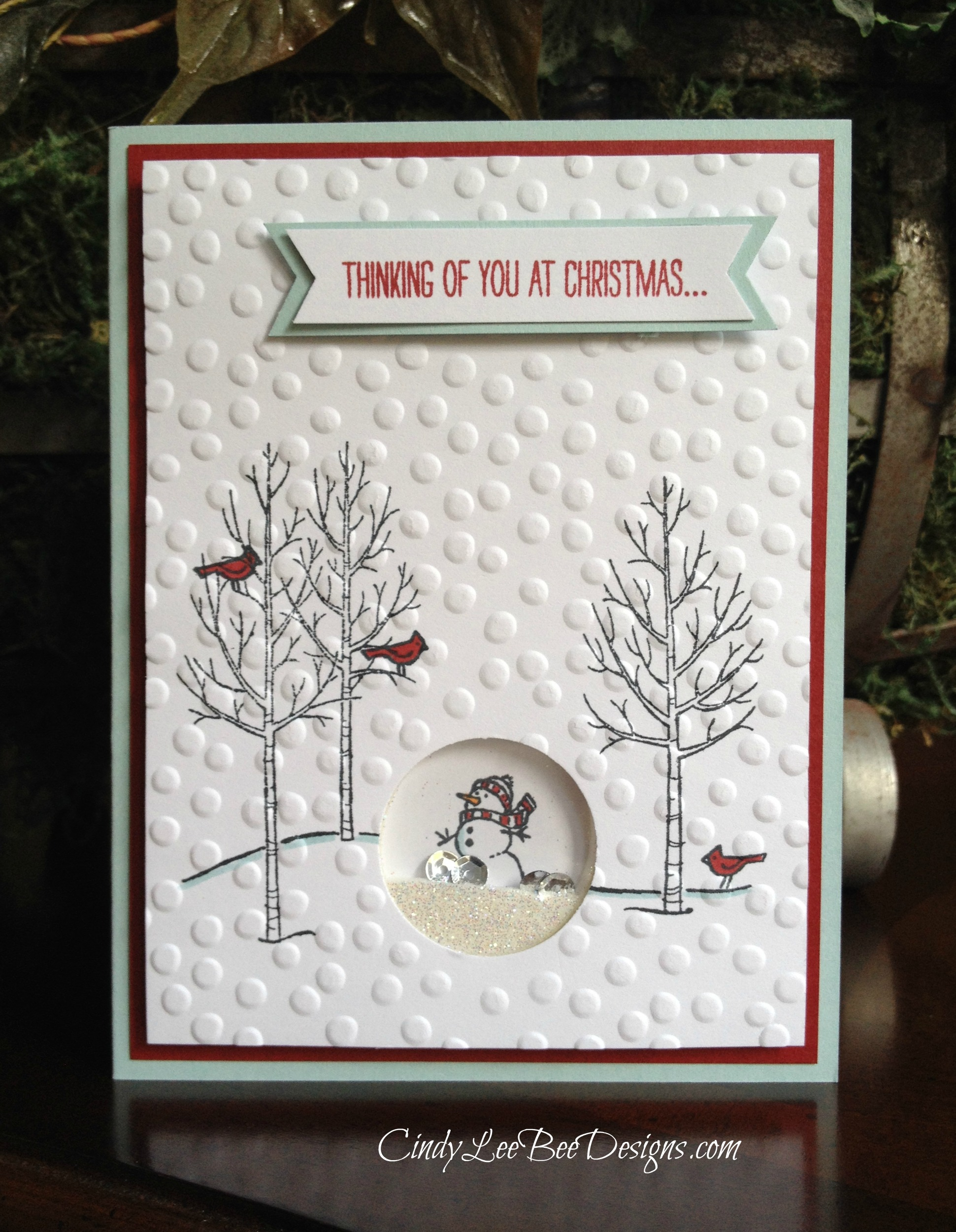 Su white christmas shaker card cindy lee bee designs for Christmas ideas for christmas cards